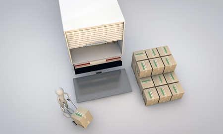 storage box: porter at work isolated on white background