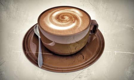 Cappuccino in altes Foto auf weißem Hintergrund