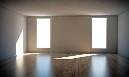 big windows: Пустая комната с двумя окнами, большой