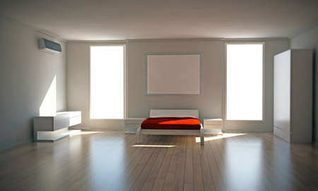 empty room: bedroom interior with essential furniture