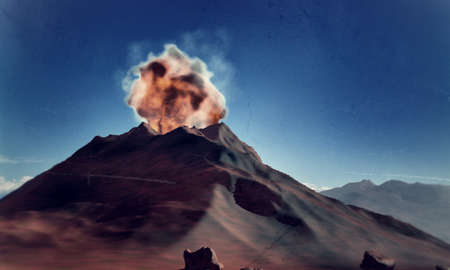 active volcano in eruption in old picture photo