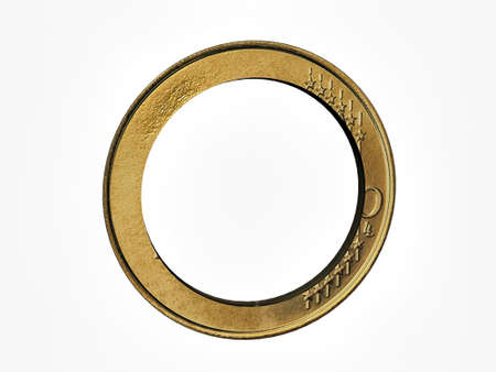 holed: euro coin holed in the center isolated on white background