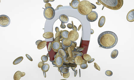 money magnet with euro coins photo