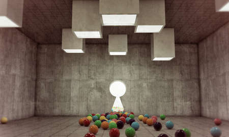 keygate in concrete room with gumballs on the floor photo