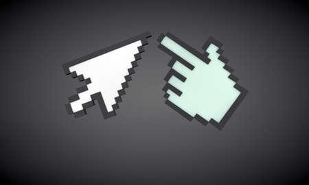 cursors isolated on black background photo