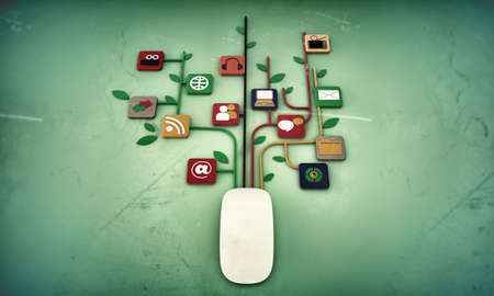 commerce communication: mouse connection isolated on green background