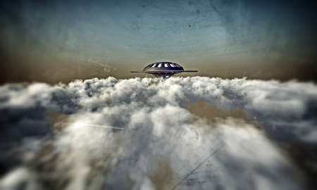 UFO flying in a dark sky Stock Photo - 14328833