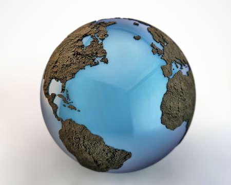 extruded: mondo con i continenti estrusi isolato su sfondo bianco