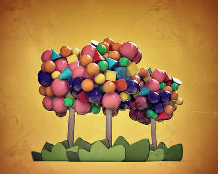 gumballs trees in old grunge photo Stock Photo - 14374176