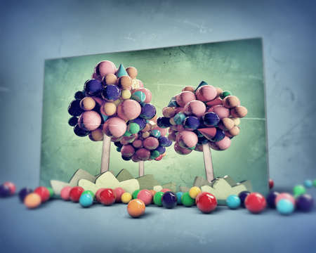 gumballs trees in old grunge photo photo