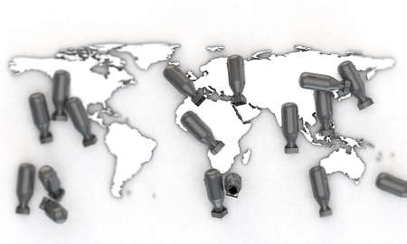 warhead: bombs falling over world map extruded on white background Stock Photo