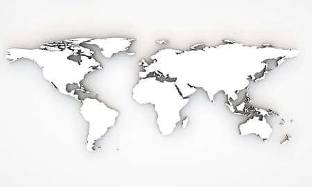 3d world map with extrude continents photo