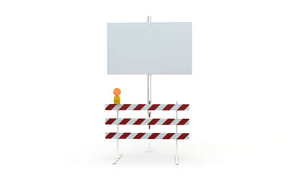 roadblock: roadblock with blank billboard isolated on white background
