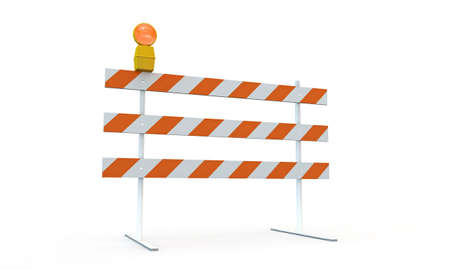 flashing: roadblock isolated on white background Stock Photo