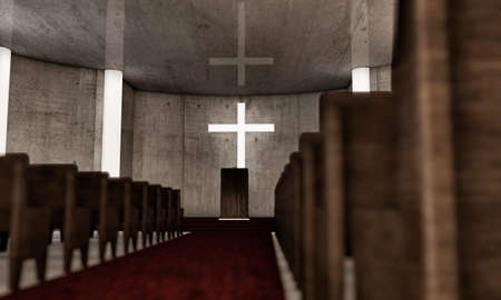 pew: church interior with wooden benches Stock Photo