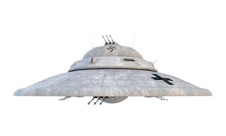 nazi ufo haunebu isolated on white background photo