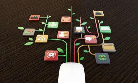 conexiones de ratón de la computadora en la mesa de madera