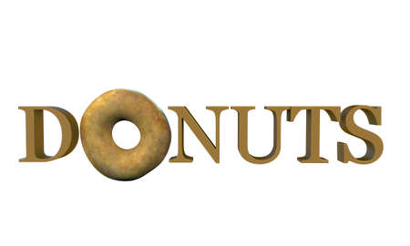 donuts word isolated on white background photo