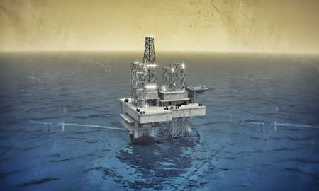 oil platform in the sea photo