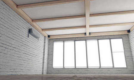 empty room with white painted bricks photo