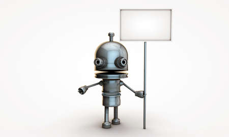 small robot with blank billboard photo