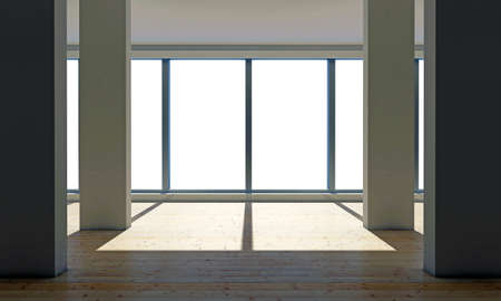 empty room with large windows Stock Photo - 14655448