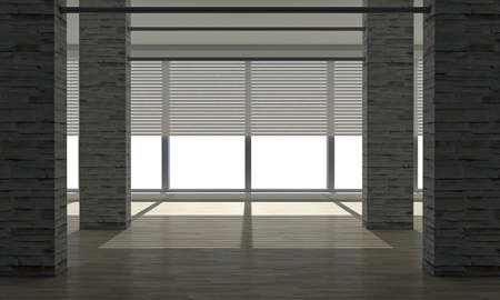 empty room with large windows photo