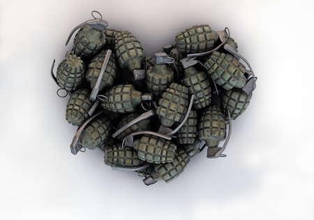 granades heart shape isolated on white background Standard-Bild