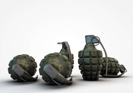 handgrenade: grenades on the floor isolated on white background