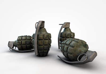 guerra: granadas sobre fondo blanco