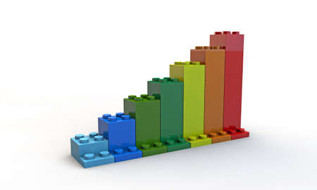 plastic bricks: graph bar shaped plastic bricks Stock Photo