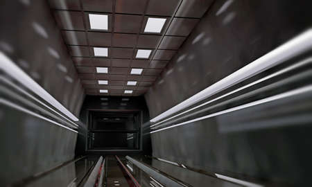 spaceship interior with metal panels and ceiling lights photo