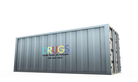 drug trafficking: shipping container isolated on white background