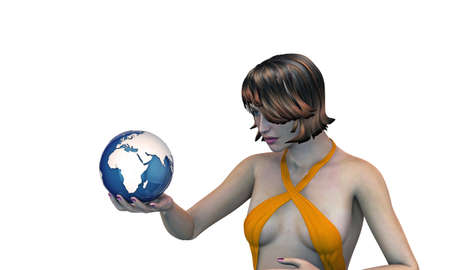 girl holding the earth in her hand isolated on white background photo
