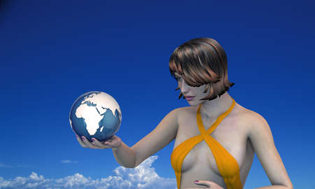 girl holding the earth in her hand  photo