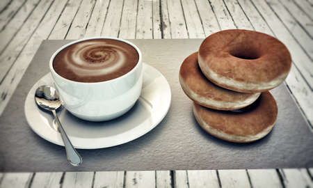hot cappuccino with donuts on white wooden floor photo
