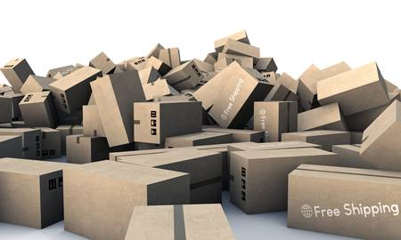 large group of cardboards boxes isolated on white background photo