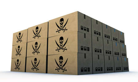 cardboard boxes with pirates skull isolated on white background photo