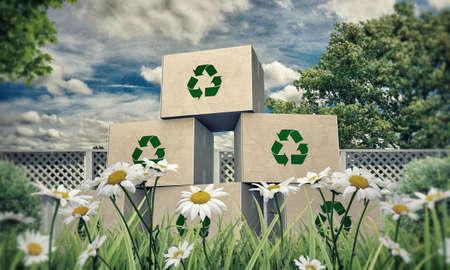 recycle reduce reuse: cajas de cart�n con el s�mbolo de reciclaje en una hermosa pradera