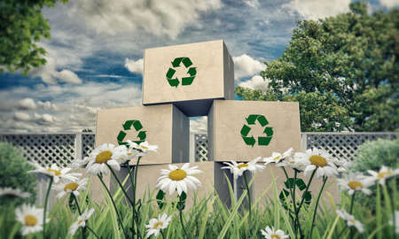 cardboard boxes with recycle symbol in a beautiful meadow