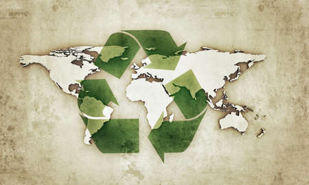 extruded: extruded continents with recycle symbol in old grunge photo Stock Photo