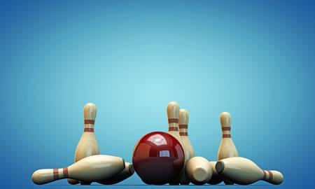 bowling pins isolated on blue background