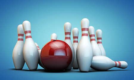 boliche: pinos de bowling isolados no fundo azul Imagens
