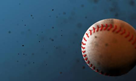 baseball ball isolated on blue background photo