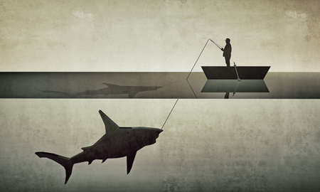 fisherman hunting a big shark in old grunge photo photo