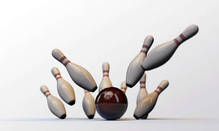 bowling pins isolated on white background photo