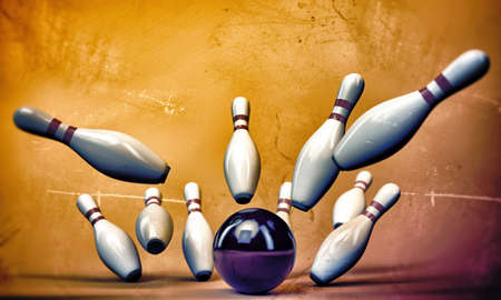 straight pin: bowling pins isolated on sunburst background Stock Photo