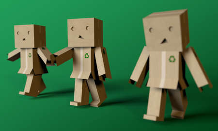 cardboards men walking together on green background photo