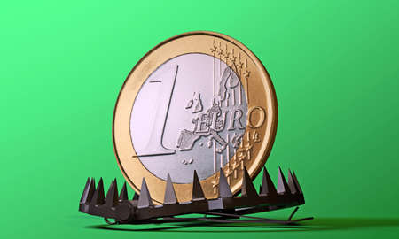 bear trap: euro coin in a bear trap isolated on green background