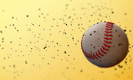baseball ball isolated on yellow background photo